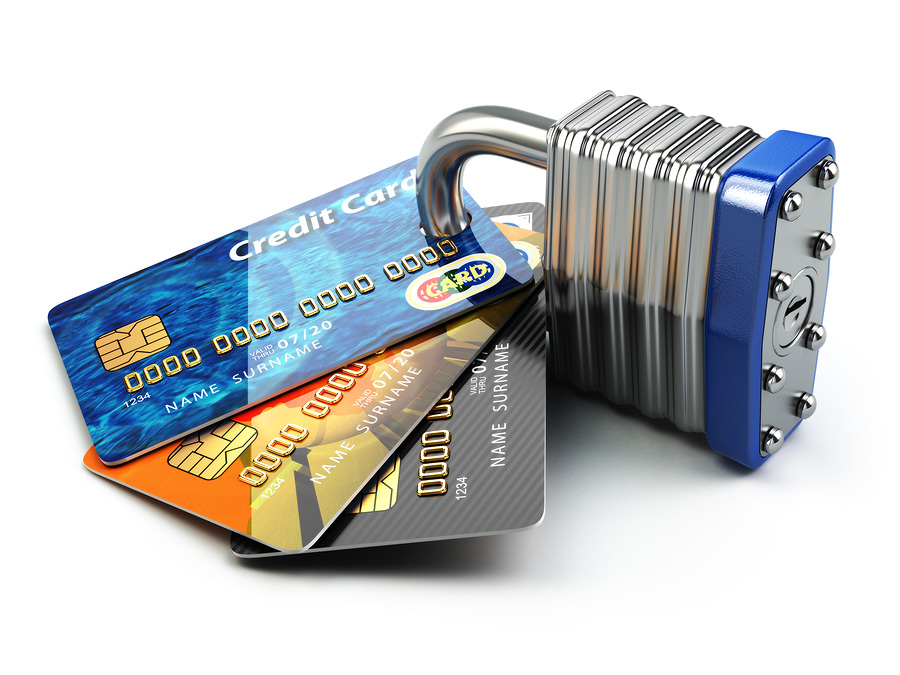Credit cards and padlock. Compliance3.com